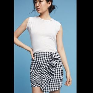NEW anthropologie • ruffled Gingham Mini Skirt